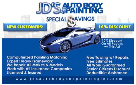 10 off year round auto body repairs for new customers for Best auto body paint shop